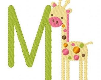 Mod Baby Giraffe Monogram Machine Embroidery Design Set // Joyful Stitches