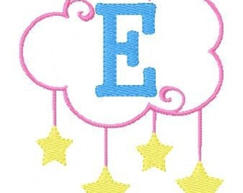 Baby Embroidery Design // Cloud & Stars Embroidery Design // Monogram Machine Embroidery Design Set, Machine Embroidery // Joyful Stitches