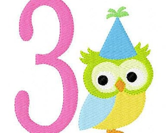 Birthday Owl Numbers Machine Embroidery Design Set // Joyful Stitches