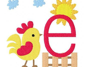Rooster Farm Monogram Machine Embroidery Design Set, machine embroiery designs, farm embroidery designs, embroidery font // Joyful Stitches