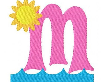 Summer Embroidery Design, Beach Embroidery Design, Monogram Font Set, Embroidery font, Embroidery Monogram Font // Joyful Stitches