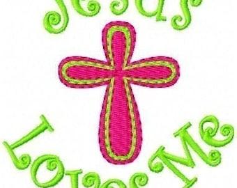 Jesus Loves Me Cross Single Machine Embroidery Design // Joyful Stitches