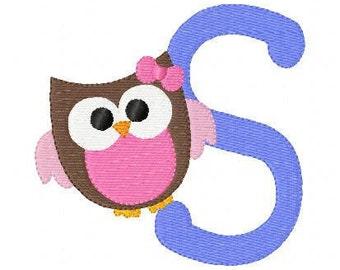 Girl Owl Bow Cutie Monogram Font Machine Embroidery Design Set // Joyful Stitches