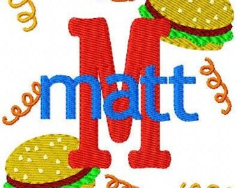 Hamburger // Fries // Monogram Embroidery Font Design Set, machine embroidery designs, embroidery font, picnic designs // Joyful Stitches