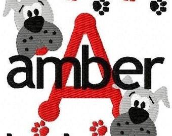 Bulldog // Mascot // Machine Embroidery Monogram Font Design Set // Joyful Stitches