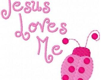 Jesus Loves Me Ladybug Machine Embroidery Design Single // Joyful Stitches
