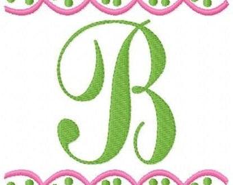 Monogram with Dots and Scallops Machine Embroidery Designs Set, Machine Embroidery Designs, Embroidery Font// Joyful Stitches