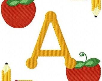 Apple // Pencil // Teacher // School // Machine Embroidery Monogram Font Design Set, School Embroidery Designs, Embroidery// Joyful Stitches