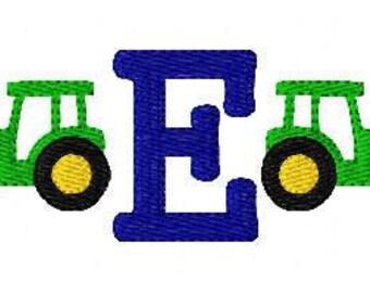Tractor Mini Monogram Machine Embroidery Design Set //Machine Embroidery Designs, Embroidery Font // Joyful Stitches