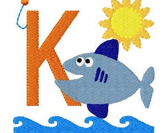 Fish // Fishing //Monogram Embroidery Font Design Set, Machine Embroidery Design, Fishing Machine Embroidery Design // Joyful Stitches