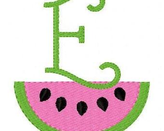 Watermelon // Summer//  Monogram Machine Embroidery Font Design Set, Machine Embroidery Design // Joyful Stitches