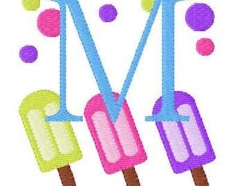 Popsicle with Dots Monogram Machine Embroidery Design Set, Summer, Machine Embroidery Designs, Embroidery font // Joyful Stitches