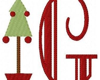 Simply Christmas Tree Machine Embroidery Monogram Design Set // Joyful Stitches