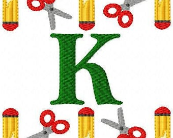 School // Pencil // Scissors // Monogram Machine Embroidery Designs Set, Back To School // Joyful Stitches