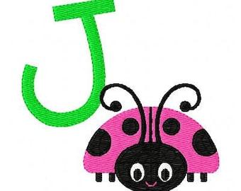 Spunky Ladybug Machine Embroidery Monogram Font Design Set, Machine Embroidery Designs, Embroidery Font // Joyful Stitches