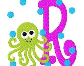 Octopus Summer Machine Embroidery Monogram Font Design Set, Embroidery font, Embroidery Monogram Font, Beach // Joyful Stitches