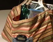 Pink and Tangerine with Brown Cream and Olive Stripes Reversable Tote Purse Satchel Handbag Carry All