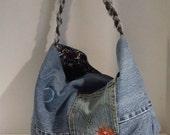 Upcycled Denim Jean Messenger Style Handbag Purse Satchel