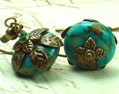 River Flower, Turquoise & Brass Vintage Style Earrings - Floral Inspired