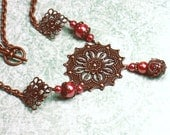 Vintage Inspired Copper Filigree and Rose Pearl Statement Necklace
