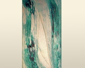 Aqua Pearl, Original Modern Art Textured Abstract Painting by Lisa Strassheim