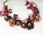 Vintage Style Lucite Flower Statement Necklace Burgundy, Pink, Orange, Fuchsia Hand Dyed, Glass Pearls, Antiqued Brass