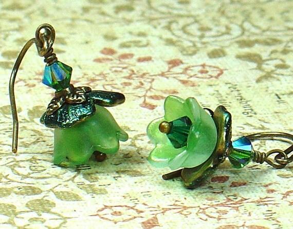 Queen's Garden Green Vintage Inspired Flower Earrings with Custom Color Lucite & Brass