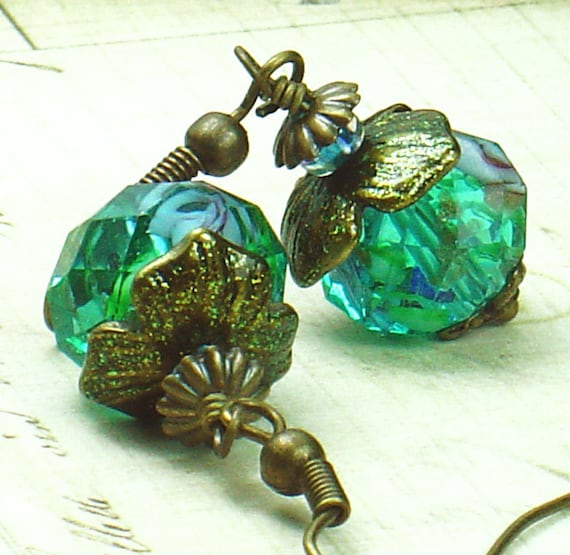 Mermaid's Garden Earrings with Aqua Floral Lampwork Glass & Hand Colored Brass