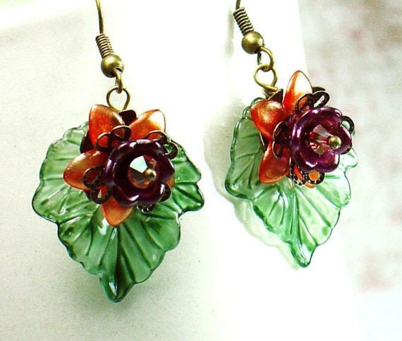 Autumn Green Leaf and Orange Flower Lucite Earrings with Swarovski Crystals