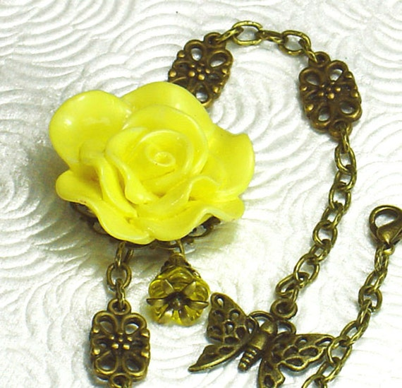 Yellow Rose Hand Dyed Resin Cabochon Bracelet, Vintage Style, Czech Flower Dangle, Brass Filigree, Butterfly Charm