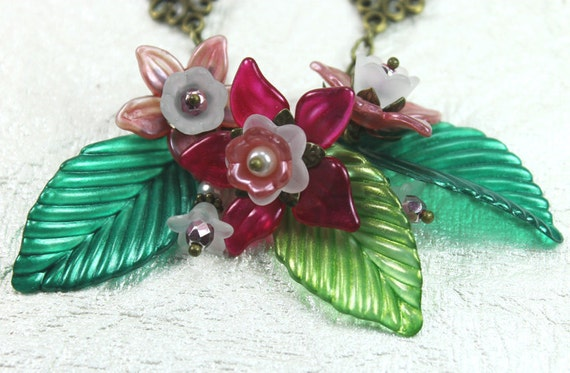 Tropical Flower Statement Necklace, Vintage Style, Hand Dyed Lucite, Antiqued Brass, Green, Pink ,White