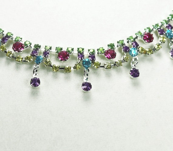 Painted Rhinestone Necklace Neon Yellow, Green, Fuchsia, Violet, Turquoise