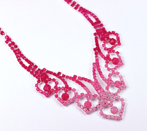 Painted Rhinestone Neon Pink Ombre Necklace