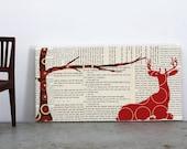 Deer and Winter Branch, Woodland Wall Art, Deer Art, Woodland Creature Art - 6x12 original collage