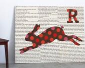 Rabbit Nursery Art with Vintage Book Page, Alphabet Art, Bunny, Jackrabbit, Letter R, Vintage Text