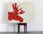 Moose Art, Moose Decor, Moose Wall Art, Woodland Wall Art, Red Moose Head Silhouette Collage on Vintage Book Pages - 8x10