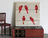 Bird on a Wire Art over Vintage Text, Fuchsia Birds on a Wire Wall Art, Bird Art, Bird Nursery Art, Art With Text