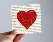 Heart Collage Art, Red Heart Decor, Heart Over Vintage Book Pages, Heart Nursery Art, Art With Text, Valentine's Day Art, Valentine's Day