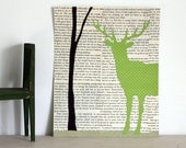 Deer Art, Deer in the Forest Collage, Woodland Wall Art With Green Stag and Tree, Deer With Antlers over Vintage Book Page Background, 8x10