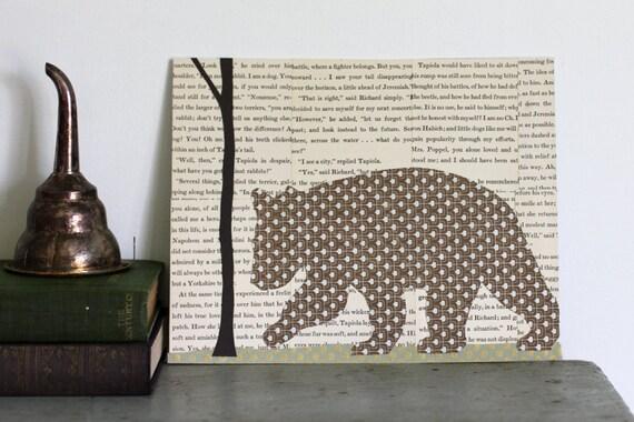Woodland Animal Art, Woodland Wall Art, Bear Art, Animal Nursery Art, Ecofriendly Art, Brown Bear in the Forest Original Collage