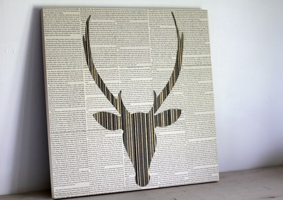 "Prairie Deer Head Silhouette Over Vintage Book Pages, 20"" x 20"" Square, Striped Sand and Wood Colored Deer HEad With Antlers Over Text"