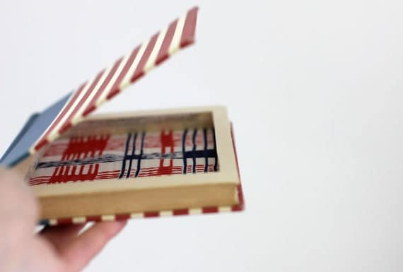 Hollow Book Jewelry Box, Book Safe Made from a Red White and Blue Humorous Book about America Called It All Started With Columbus