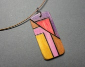 "Geometric necklace - SINGED - Art Deco - Wood Burned Necklace - ""Time of the Season"" - Yellow, Pink, Purple, Yellow Ochre, Red"