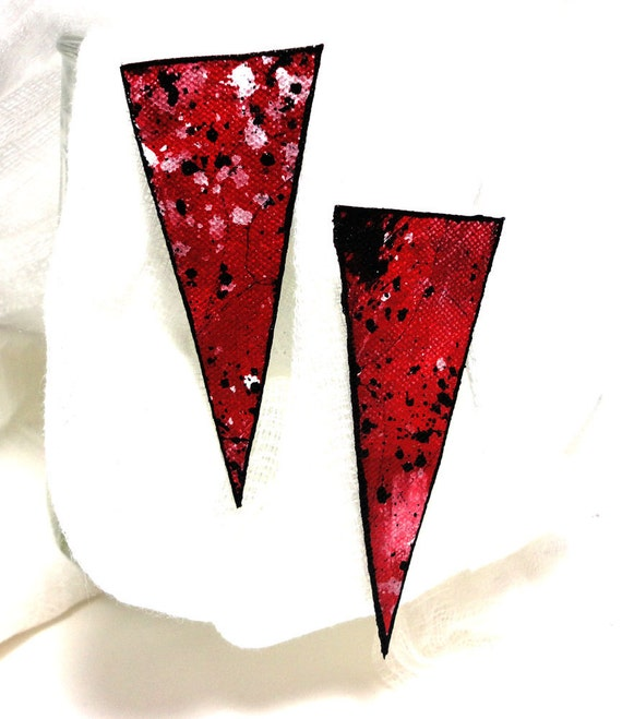 Whitney Houston red - Hand Painted Canvas Earrings - Triangle Shaped - Red with Black and White Splashes