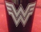 Hand Etched on Black Shot Glass, Super Hero WONDER WOMAN