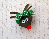 Santa's little Reindeer Hair Clip- Perfect for Christmas- Rudolph