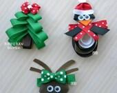 Christmas Trio- Set of 3 Christmas Hair Clips- O Christmas Tree- Paulie the Penguin- Santa's Little Reindeer