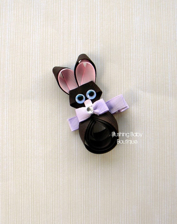 3 inch Chocolate Bunny Hair Clip- Perfect for Easter or Any Bunny Lover-