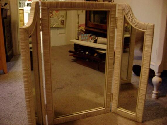 Vintage Tri Fold Mirror Wicker