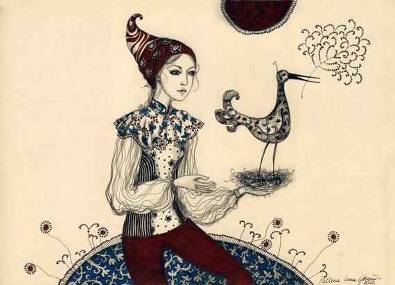 Singing Bird - Original Drawing